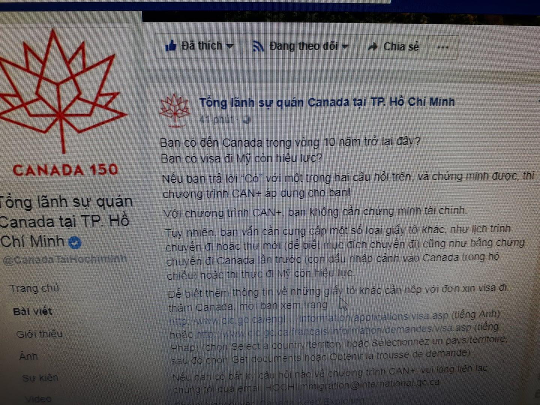 Xin Visa du lịch Canada - Không cần chứng minh tài chánh